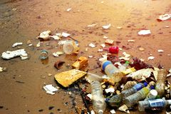 Plastic pollution in ocean. stock photography