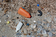 Plastic pollution from the sea royalty free stock image