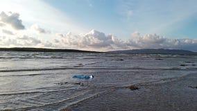 Plastic pollution swimmin in the Atlantic ocean stock video footage