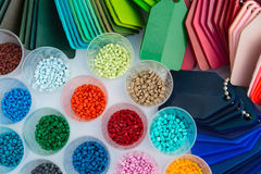 Plastic polymer granulate. Several dyed plastic polymer granulates in laboratory Royalty Free Stock Photos