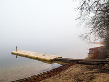 Plastic pontoon in the fog Royalty Free Stock Images