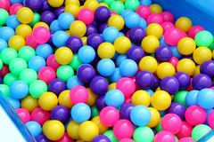 Plastic pool ball party colorful for kids to play ball in water park, Colorful ball plastic texture abstract background pattern. The Plastic pool ball party Stock Images