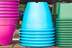 Plastic pots Royalty Free Stock Photo