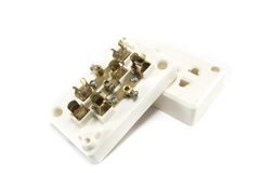 Plastic power outlet. On white background Royalty Free Stock Photo