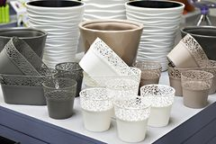 Plastic products in store of household goods. Plastic products in the store of household goods Stock Images