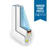 Plastic Profile Energy Saving Window. Three Transparent Glass. Vector Illustration Stock Photography