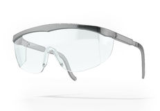 Plastic protection glasses. Isolated on a white background Royalty Free Stock Image
