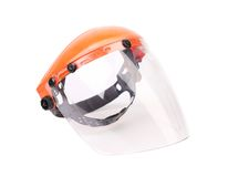 Plastic protective face shield. Royalty Free Stock Images