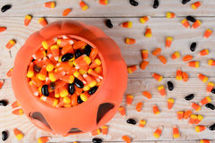 Plastic Pumpkin Candy Corn Royalty Free Stock Photography