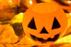 Plastic pumpkin on leafs Stock Photography