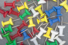 Plastic pushpins. Isolated on gray background Stock Photos