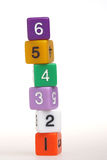 Plastic puzzles with numbers. Closeup of plastic puzzles with numbers royalty free stock photography