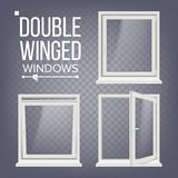 Plastic PVC Window Vector. Double-Winged. Opened And Closed. Front View. Home Window Design Element. Isolated On. Plastic Window Vector. Double-Winged. White Royalty Free Stock Photography