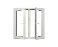 Plastic pvc window on white blank background. White open pvc window on white blank background Royalty Free Stock Photography