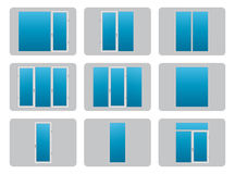 Plastic (PVC) Windows. Different types of plastic PVC windows. Vector eps10 Royalty Free Stock Images
