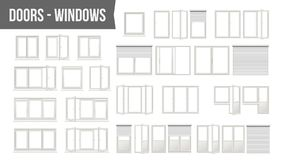 Plastic PVC Windows Doors Set Vector. Different Types. Roller Blind Shutters. Opened And Closed. Front View. Home Design. Element. Isolated White Realistic Royalty Free Stock Images