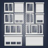 Plastic PVC Windows Set Vector. Different Types. Roller Blind. Opened And Closed. Front View. Home Window Design Element. PVC Window Vector. Rolling Shutters Stock Photo