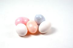 Plastic and Real Eggs Stock Photography