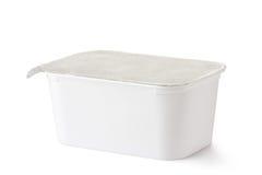 Plastic rechthoekige container met foliedeksel Stock Foto