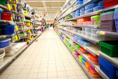 Plastic recipients. Many plastic recipients in supermarket, Carrefour Bucharest, Romania Stock Image