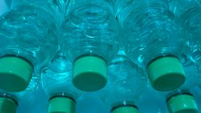 Plastic recyclable water bottles closeup stock photography