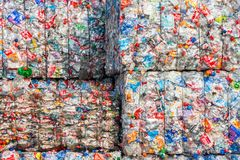 Plastic recycle plant. ARNHEM, NETHERLANDS - MAR 15, 2011: Recycled plastic bottles in bales at an undisclosed recycling facility Stock Photography