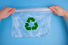 Plastic recycled with a recycling logo royalty free stock photos