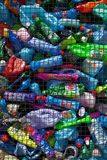 Plastic recycling. Pile of PVC bottles awaiting recycling Royalty Free Stock Photography