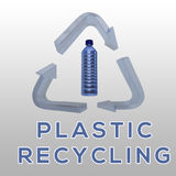 Plastic Recycling concept. 3D illustration of PLASTIC RECYCLING title with plastic bottle in a recycling symbol as a background Royalty Free Stock Image