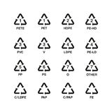 Plastic recycling symbols set, vector Royalty Free Stock Photos