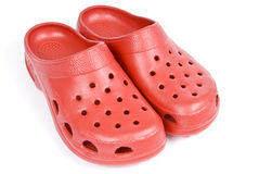 Plastic Red Clogs Stock Image