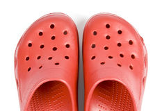 Plastic Red Clogs Royalty Free Stock Image