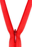 Plastic red coil zip fastener close Royalty Free Stock Image