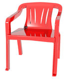 Plastic red color chair sit down image Royalty Free Stock Photography