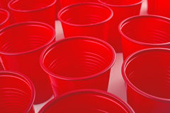 Plastic red cups Royalty Free Stock Photography