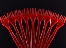 plastic red för gaffel arkivbilder