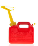Plastic red gas can. A bright red plastic gas can isolated on white royalty free stock photo