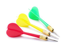 Plastic red, green, yellow darts Stock Images