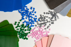 Plastic resin with color samples Royalty Free Stock Photos