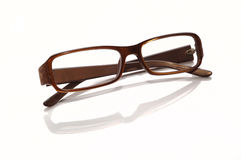Plastic-rimmed eyeglasses. Isolated on a white background Royalty Free Stock Photos