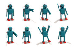 Plastic Robot Toy in Different Poses. Stock Photo