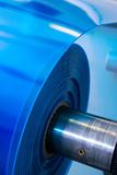 Plastic roll close-up. Packaging machine blue plastic roll close-up Royalty Free Stock Images