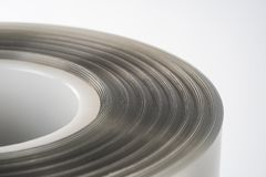 The plastic roll for wrap and seal food. The plastic roll for wrap and seal food in the factory Stock Photo