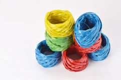 Plastic rope. Stack of colorful plastic rope on the white background Royalty Free Stock Photography