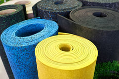 Plastic rubber floor coverings for sport gym. Plastic rubber floor coverings for sports halls Royalty Free Stock Photography