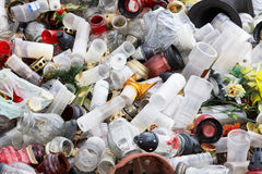Plastic rubbish. Plastic and glass rubbish on cementery Stock Images