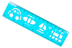 Plastic ruler and stencil Royalty Free Stock Images