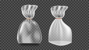 Plastic Sachetvector Transparante Zakomslag De lege Spot van het Productpolyethyleen op Malplaatje Nylon Doy-Pak het Brandmerken  royalty-vrije illustratie
