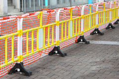 Plastic Safety Barrier. At Construction Site Stock Photo