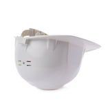 Plastic safety helmet over isolated white background Stock Photo